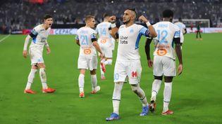 Dimitri Payet célèbre son but contre le RC Lens au Stade Vélodrome, le 26 septembre 2021. (ADIL BENAYACHE/SIPA)