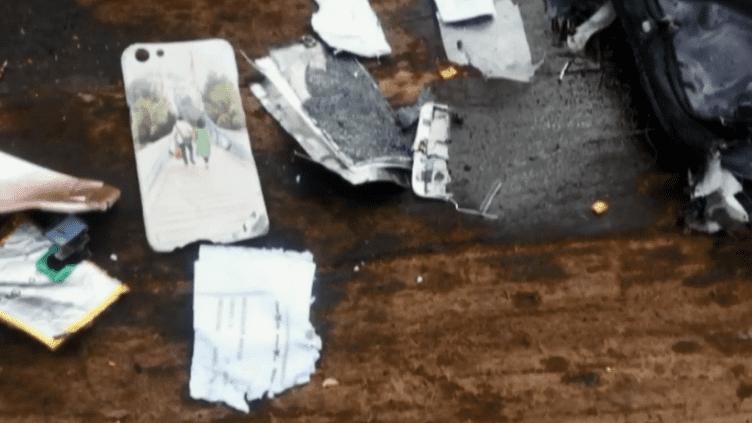 Des débris du crash en mer d'un volm de la Lion Air (CAPTURE ECRAN FRANCE 2)