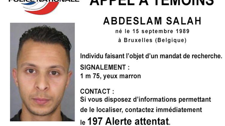 L'appel à témoins diffusé par la police française, le15 novembre 2015, pour retrouver Salah Abdeslam, suspecté d'avoir participé aux attentats du 13 novembre à Paris. (POLICE NATIONALE / AFP)