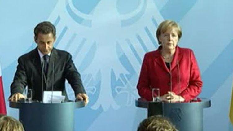 Nicolas Sarkozy et Angela Merkel affichent leur entente lundi 14 juin 2010 à Berlin (France 2)
