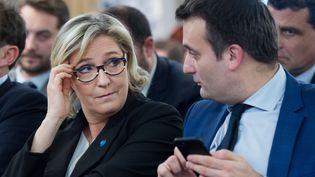 Marine Le Pen et Florian Philippot, à une convention du Front national, le 5 janvier 2017, à Paris. (CHAMUSSY / SIPA)