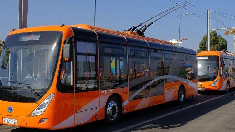 Les bus électriques sont entrés en service à Marrakech. (STRINGER / AFP)