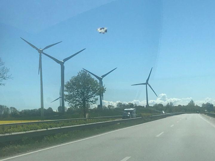 Des éoliennes sur la route en direction de Hambourg (Allemagne). (ERIC AUDRA / RADIO FRANCE)