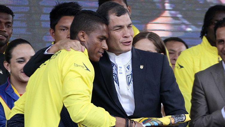 Le président Rafael Correa a critiqué ouvertement l'équipe de l'Equateur. (JUAN CEVALLOS / AFP)