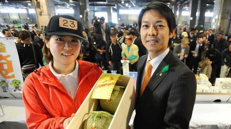 10.000 euros une paire de melons lors d'une vente aux enchères en 2012 à Sapporo (DR)