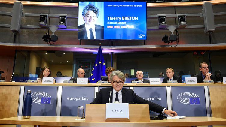 Thierry Breton le 14 novembre 2019 lors de son audition au Parlement européen. (JOHN THYS / AFP)