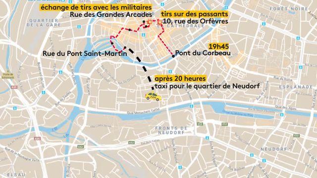 Le parcours du tireur dans les rues de Strasbourg