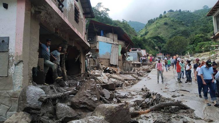 Les dégâts des intempéries à Tovar, dans l'Etat de Merida (Venezuela), le 25 août 2021. (EURO LOBO / AP / SIPA)