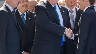 Donald Trump et Emmanuel Macron à Bruxelles. (BENOIT DOPPAGNE / BELGA)
