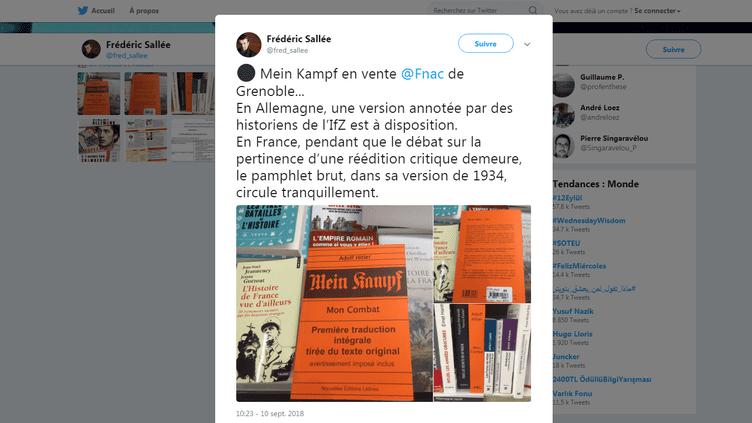 """Capture d'écran du tweet de l'historien Frédéric Sallée, signalant une édition de """"Mein Kampf"""" à la Fnac de Grenoble, le 10 septembre 2018. (TWITTER / FREDERIC SALLEE)"""