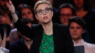 Clémentine Autain sur le plateau de France 2, le 24 janvier 2019. (GEOFFROY VAN DER HASSELT / AFP)