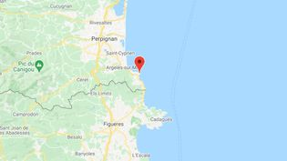 La baleine grise, surnommée Wally, se dirige vers le Cap Béar (Pyrénée orientales), jeudi 6 mai 2021. (CAPTURE D'ECRAN GOOGLE MAPS)