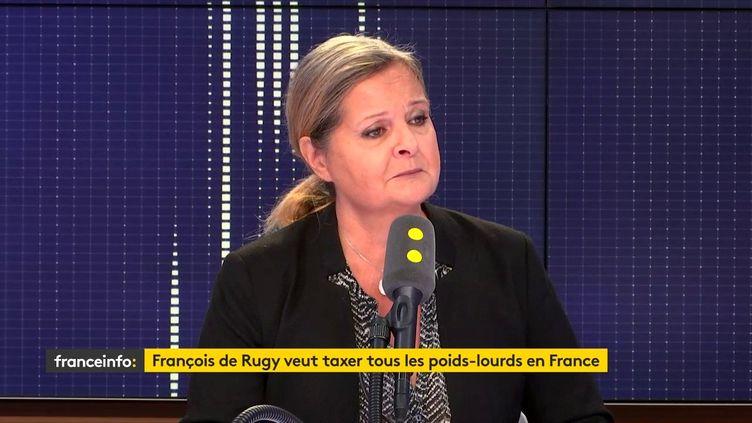 Florence Berthelot, déléguée générale de la Fédération nationale des transports routiers (FNTR), le 24 septembre 2018. (RADIO FRANCE / FRANCEINFO)