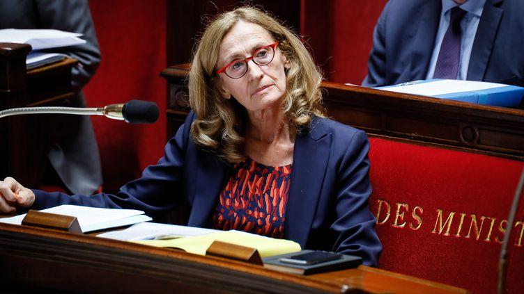 La ministre de la Justice, Nicole Belloubet, assiste à l'examen du projet de loi de moralisation de la vie publique, le 25 juillet 2017, à l'Assemblée nationale, à Paris. (MAXPPP)