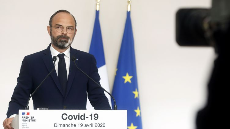 Le Premier ministre Edouard Philippe lors d'une conférence de presse sur l'épidémie de coronavirus, le 19 avril 2020, à Paris. (THIBAULT CAMUS / POOL / AFP)