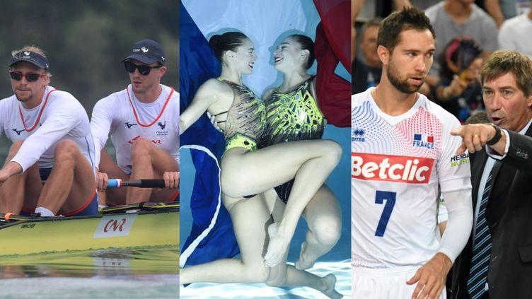 De gauche à droite :Guillaume et Thibaud Turlan, Charlotte et Laura Tremble, Kévin et Laurent Tillie. (MAXPPP / AFP)