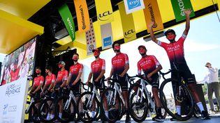 L'équipe Arkéa-Samsic, le 1er septembre 2020 à Sisteron (Alpes-de-Haute-Provence). (STUART FRANKLIN / AFP)
