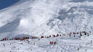 Des secouristes cherchent des survivants après une avalanche près de la station de sports d'hiver de Tignes (Savoie), le 13 février 2017. (STR /  RADIO VAL D'ISERE / AFP)