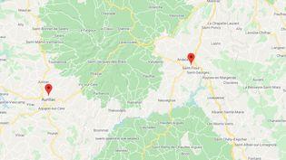 Les faits se sont déroulés le 11 septembre 2020 dans le Cantal,entre Aurillac et Saint-Flour. (CAPTURE D'ECRAN GOOGLE MAPS)