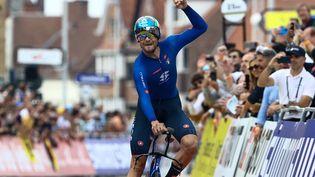 L'Italien Filippo Ganna a remporté le chrono individuel des Championnats du monde de cyclisme sur route à Bruges, dimanche 19 septembre 2021. (KURT DESPLENTER / BELGA / AFP)