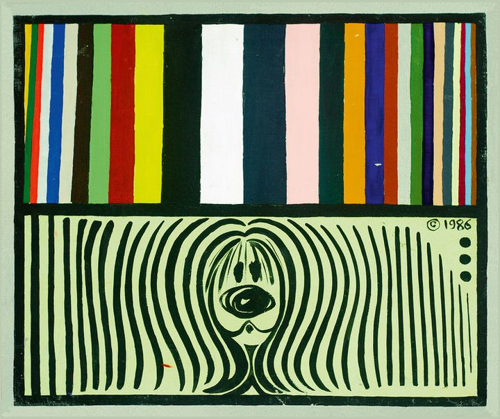 NINA CHILDRESS, Pollux chromatique, 1986 Acrylique et phospho sur toile, Collection de l'artiste (Adagp, Paris, 2021)
