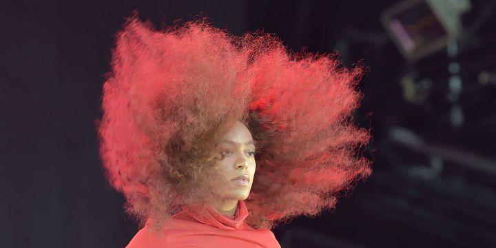 """Solange """"Pas touche à mes cheveux"""", au festival We Love Green 2017.  (Sadaka Edmond / SIPA)"""