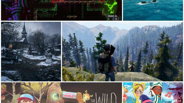 """En haut à gauche, le jeu """"Rising Hell"""", en haut à droite, """"King of the Seas"""". En bas à gauche, """"Resident Evil Village. En bas à droite, """"Open Country"""". (FRANCEINFO)"""