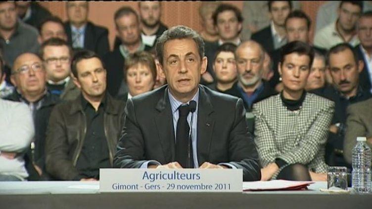Nicolas Sarkozy,lors d'une table ronde surl'agriculture à Gimont (Gers), le 29 novembre 2011. (FTVi / FRANCE 2)