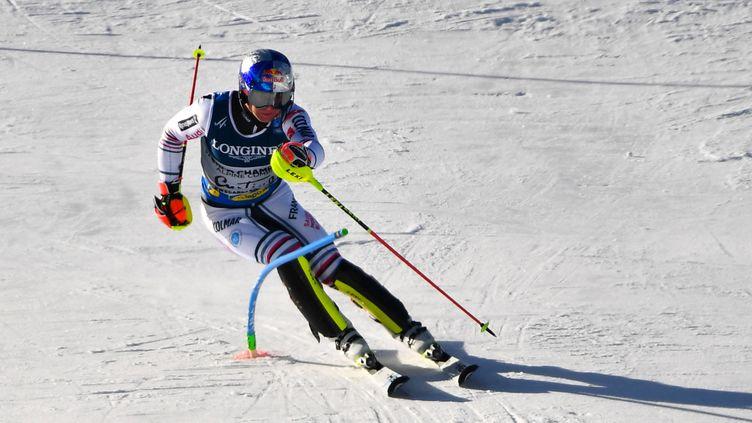 Alexis Pinturault sur le slalom du combiné des championnats du monde, lundi 15 février. (ANDREAS SOLARO / AFP)