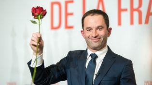 Benoît Hamon, le 29 janvier 2017, à la Mutualité à Paris. (SIMON GUILLEMIN / AFP)
