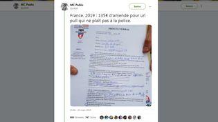 """Un tweet montre un PV dressé par un policier lors de la manifestation des """"gilets jaunes"""", samedi 23 mars à Paris. (P4BL0 / TWITTER)"""