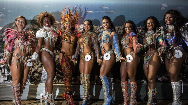 Des candidates au titre de reine du carnaval de Rio2014 posent, lors de la sélection, le 8 novembre 2013, à Rio de Janeiro (Brésil). (YASUYOSHI CHIBA / AFP)