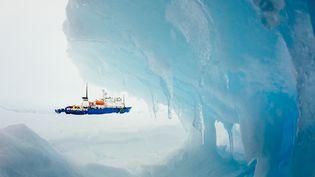 """Le """"MV Akademik Chokalskiï"""", le navire russe prisonnier des glaces de l'Antarctique depuis le 24 décembre, photographié le 30 décembre 2013. (ANDREW PEACOCK / FOOTLOOSEFOTOGRAPHY.COM / AFP)"""