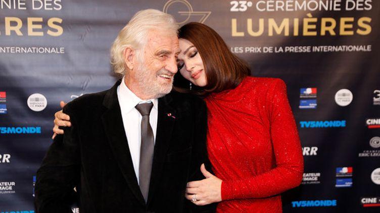 Jean-Paul Belmondo et Monica Bellucci, 23e cérémonie des prix Lumières, 5 février 2018  (Patrick KOVARIK / AFP)