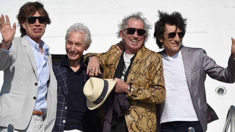 Mick Jagger, Charlie Watts, Keith Richards et Ron Wood à Montevideo en 2016.  (PABLO PORCIUNCULA / AFP)