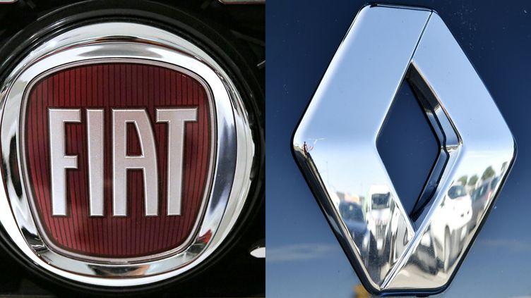Les logos Fiat et Renault. (MARCO BERTORELLO / AFP)