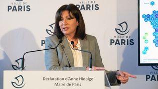 Anne Hidalgo, maire de Paris, lors de sa conférence de presse, le 1er mars 2021. (JACQUES WITT / POOL / AFP)