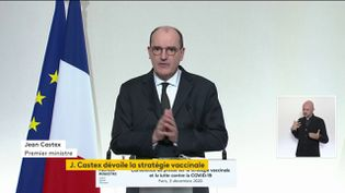 Jean Castex lors d'une conférence de presse sur le Covid-19 le 3 décembre 2020. (FRANCE TELEVISIONS)