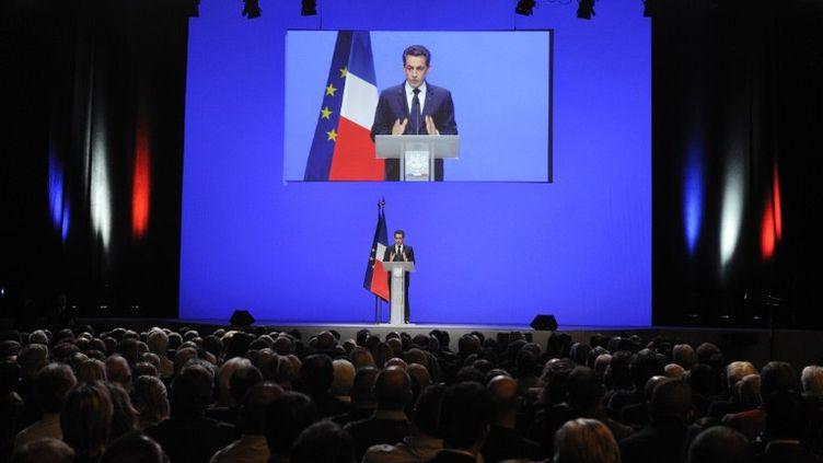 Nicolas Sarkozy lors de son discours de Toulon (Var), le 1er décembre 2011. (ERIC FEFERBERG / POOL / AFP)