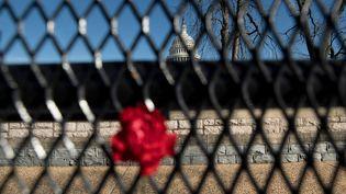 14 janvier 2021. Des fleurs sont placées sur une clôture, à la mémoire du policier du Capitole assassiné, Brian Sicknick,à Washington, DC, une semaine après qu'une foule pro-Trump est entrée par effraction et a pris le contrôle du Capitole. (BRENDAN SMIALOWSKI / AFP)