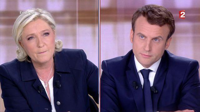 """Présidentielle : """"Jeune à l'extérieur, vieux à l'intérieur"""", lance Le Pen à Macron"""