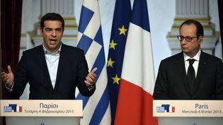 Le Premier ministre grec, Alexis Tsipras, et François Hollande, le 4 février 2015, à l'Elysée. (MARTIN BUREAU / AFP)