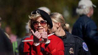 L'actriceJane Fonda lors d'une arrestation à une manifestation contre le changement climatique, le 18 octobre 2019, à Washington. (SARAH SILBIGER / REUTERS)