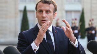Emmanuel Macron lors d'un point-presse à l'Elysée avec le Premier ministre portugais, le 20 mai 2019 à Paris. (LUDOVIC MARIN / AFP)