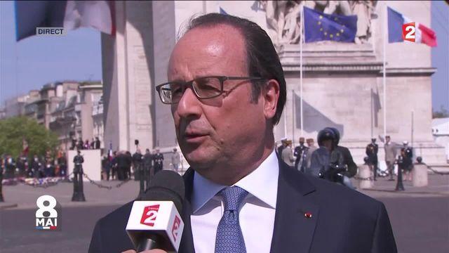 François Hollande s'exprime pendant les commémorations du 8-Mai.