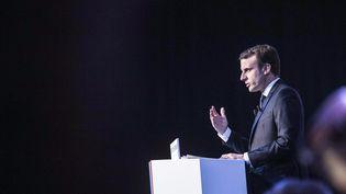 Le candidat d'En marche !, Emmanuel Macron, lors de la présentation de son programme, le 2 mars 2017. (HAMILTON / REA)