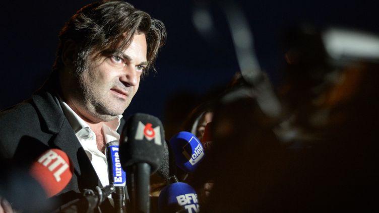 Randall Schwerdorffer, l'avocat de Jonathann Daval, l'homme mis en examen et écroué pour le meurtre de son épouse, Alexia Daval, le 30 janvier 2018, à Besançon (Doubs). (SEBASTIEN BOZON / AFP)