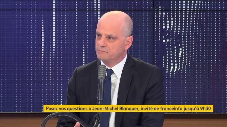 Jean-Michel Blanquer, le ministre de l'Éducation nationale, était l'invité de franceinfo dimanche 15 mars 2020. (FRANCEINFO / RADIO FRANCE)