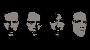 """Les visages des quatre membres de l'époque de """"Metallica"""" (Blackened/Virgin)"""