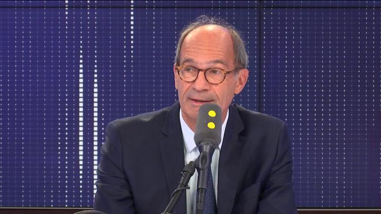 """Éric Woerth, député Les Républicains de l'Oise, invité du """"8.30 franceinfo"""", jeudi 19 septembre 2019. (FRANCEINFO / RADIOFRANCE)"""